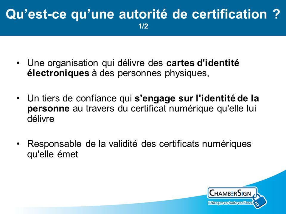 Quest-ce quune autorité de certification ? 1/2 Une organisation qui délivre des cartes d'identité électroniques à des personnes physiques, Un tiers de
