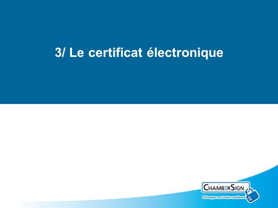 3/ Le certificat électronique