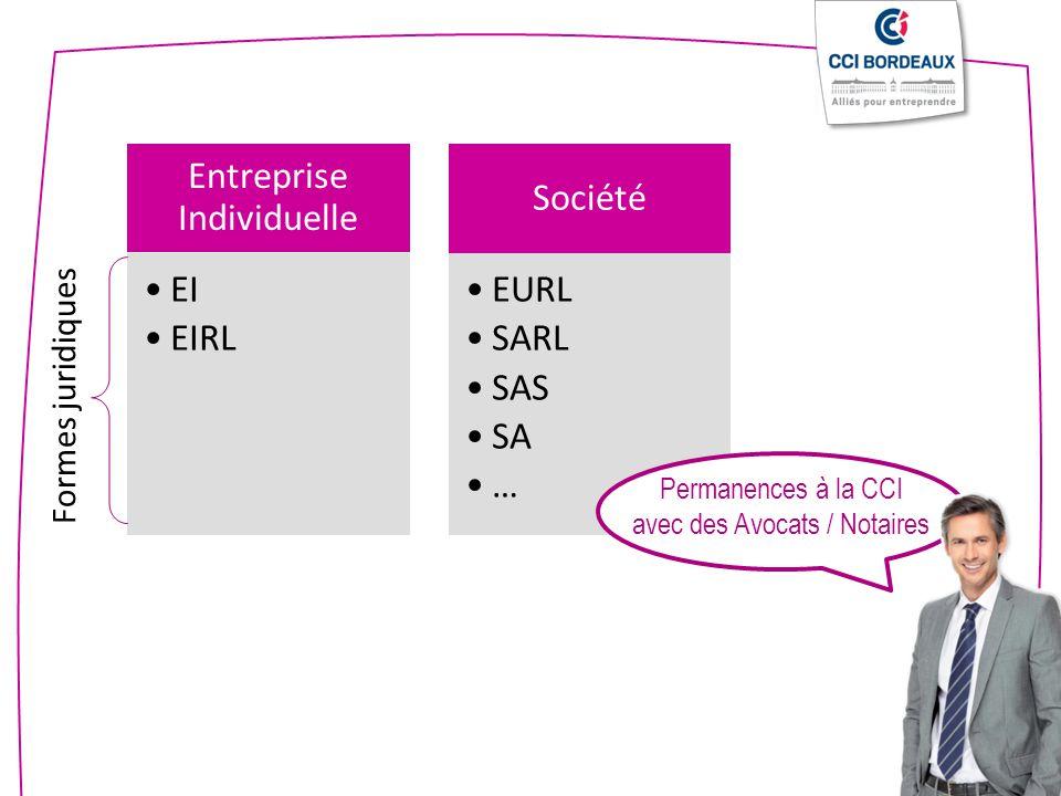Entreprise Individuelle EI EIRL Société EURL SARL SAS SA … Formes juridiques Permanences à la CCI avec des Avocats / Notaires