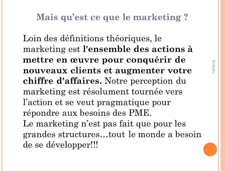 Kalysta Mais quest ce que le marketing ? Loin des définitions théoriques, le marketing est l'ensemble des actions à mettre en œuvre pour conquérir de