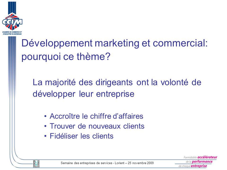 Semaine des entreprises de services - Lorient – 25 novembre 2009 Développement marketing et commercial: pourquoi ce thème? La majorité des dirigeants