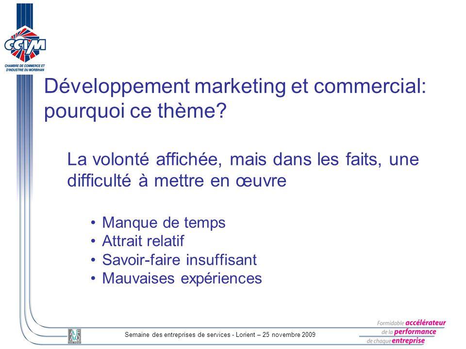 Semaine des entreprises de services - Lorient – 25 novembre 2009 Développement marketing et commercial: pourquoi ce thème? La volonté affichée, mais d