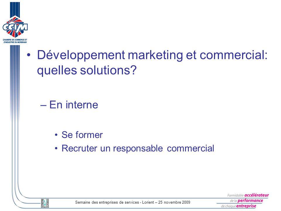 Semaine des entreprises de services - Lorient – 25 novembre 2009 Développement marketing et commercial: quelles solutions? –En interne Se former Recru