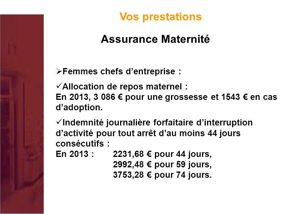 Femmes chefs dentreprise : Allocation de repos maternel : En 2013, 3 086 pour une grossesse et 1543 en cas dadoption. Indemnité journalière forfaitair