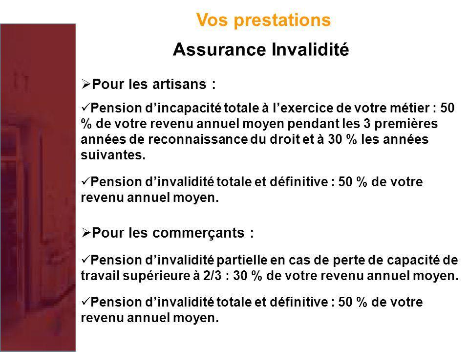 Vos prestations Assurance Invalidité Pour les artisans : Pension dincapacité totale à lexercice de votre métier : 50 % de votre revenu annuel moyen pe