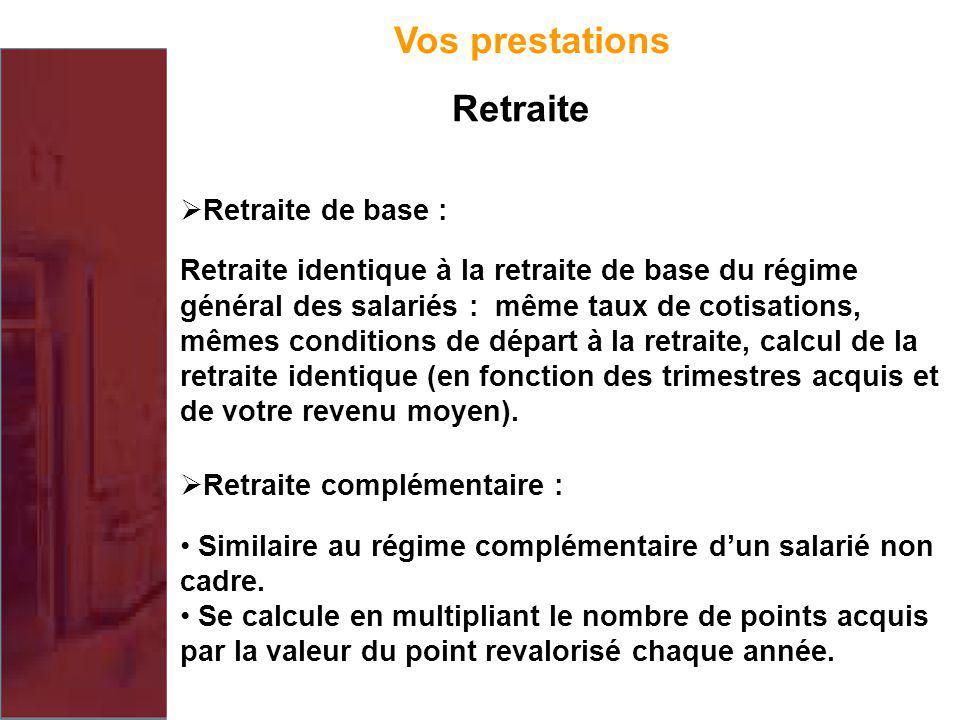Retraite de base : Retraite identique à la retraite de base du régime général des salariés : même taux de cotisations, mêmes conditions de départ à la