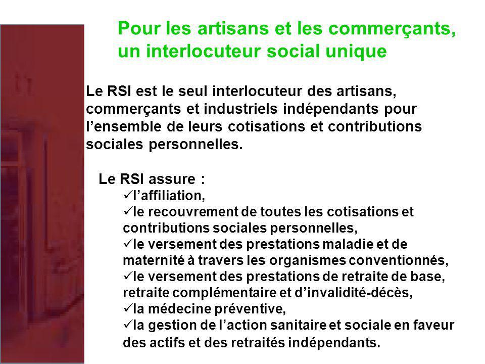 Pour les artisans et les commerçants, un interlocuteur social unique Le RSI est le seul interlocuteur des artisans, commerçants et industriels indépen