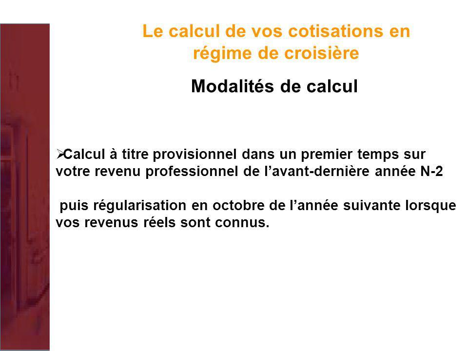 Le calcul de vos cotisations en régime de croisière Modalités de calcul Calcul à titre provisionnel dans un premier temps sur votre revenu professionn