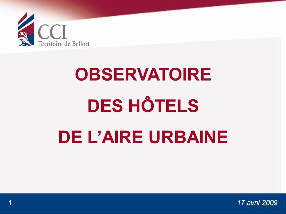17 avril 2009 OBSERVATOIRE DES HÔTELS DE LAIRE URBAINE 1