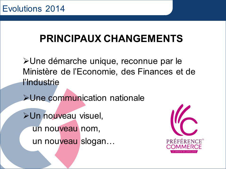 Evolutions 2014 Une démarche unique, reconnue par le Ministère de lEconomie, des Finances et de lIndustrie Une communication nationale Un nouveau visuel, un nouveau nom, un nouveau slogan… PRINCIPAUX CHANGEMENTS