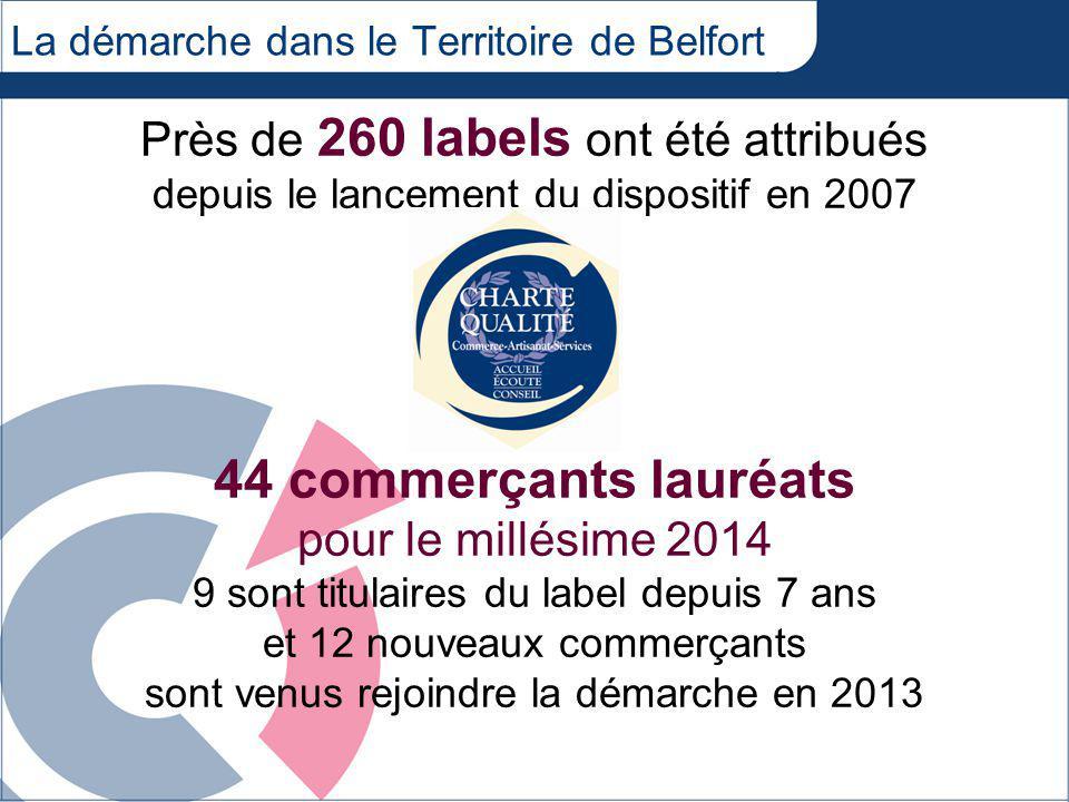La démarche dans le Territoire de Belfort Près de 260 labels ont été attribués depuis le lancement du dispositif en 2007 44 commerçants lauréats pour le millésime 2014 9 sont titulaires du label depuis 7 ans et 12 nouveaux commerçants sont venus rejoindre la démarche en 2013