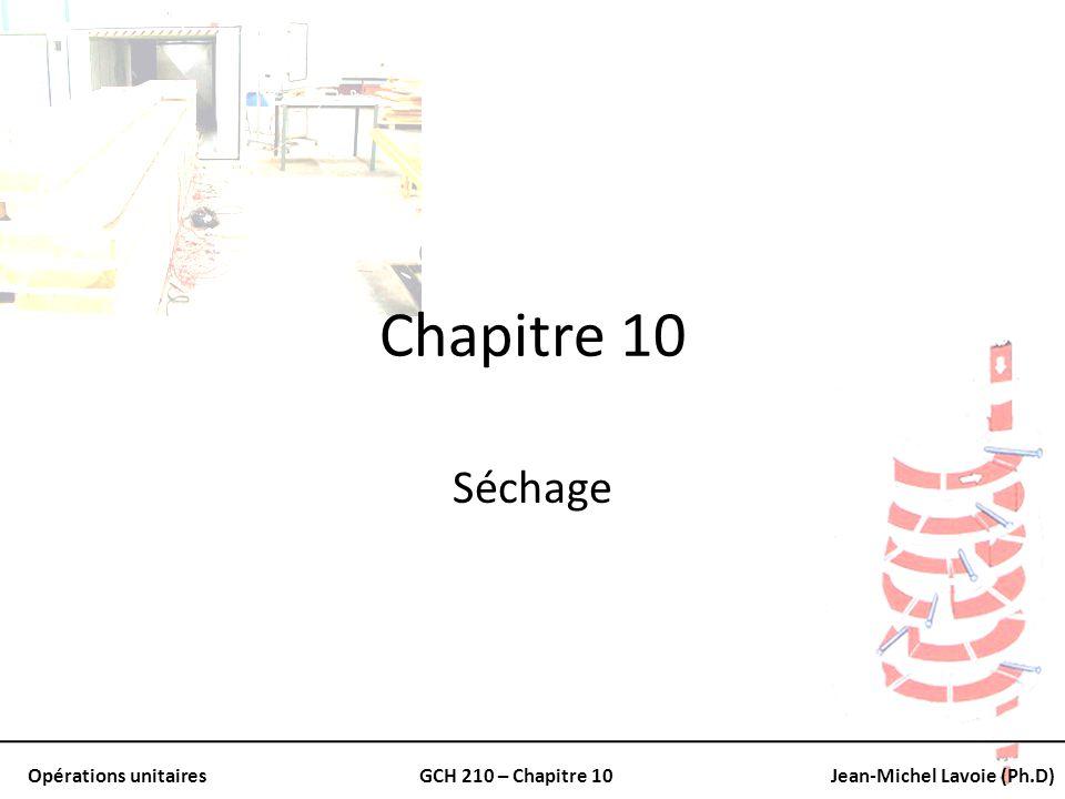 Opérations unitairesGCH 210 – Chapitre 10Jean-Michel Lavoie (Ph.D) Point de rosée Température à laquelle un mélange dair et de vapeur deau se voit saturée À 26.7 o C la pression de vapeur à saturation est de 3.50 kPa Le point de rosée dun mélange air-vapeur deau à 3.50 kPa est nécessairement de 26.7 o C Explique la formation de rosée
