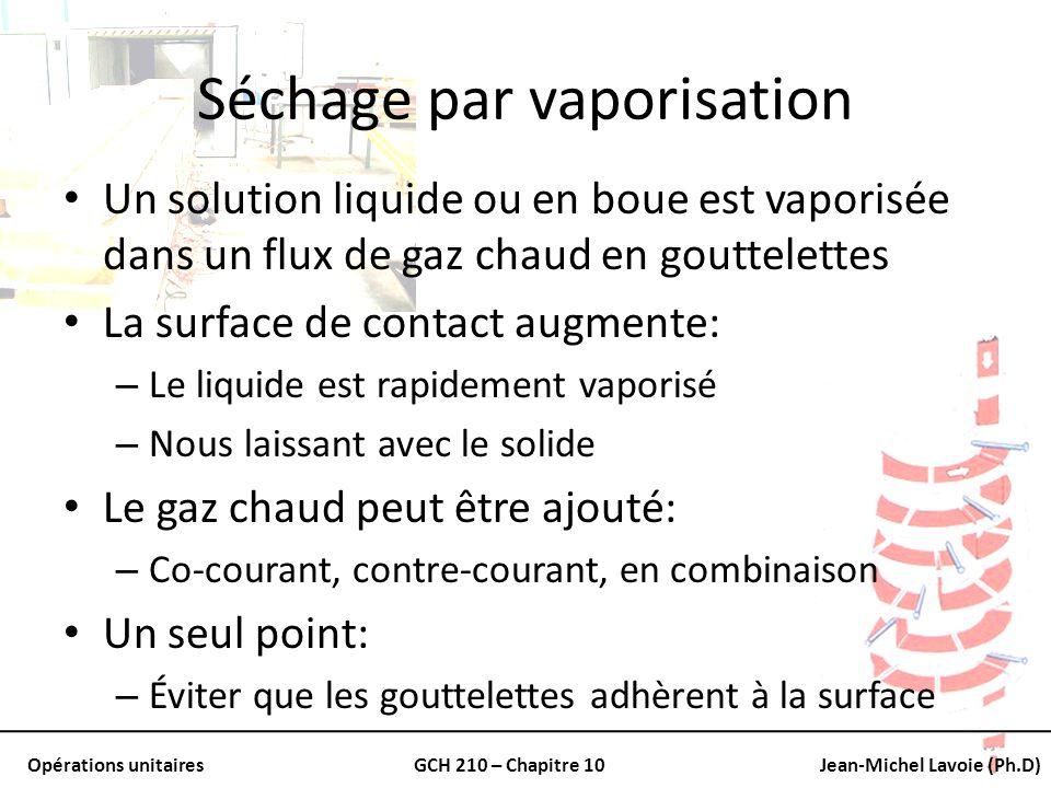 Opérations unitairesGCH 210 – Chapitre 10Jean-Michel Lavoie (Ph.D) Séchage par vaporisation Un solution liquide ou en boue est vaporisée dans un flux