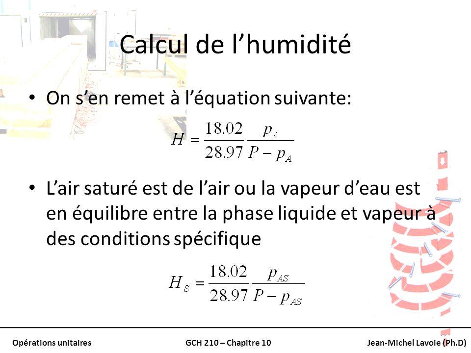 Opérations unitairesGCH 210 – Chapitre 10Jean-Michel Lavoie (Ph.D) Calcul de lhumidité On sen remet à léquation suivante: Lair saturé est de lair ou l