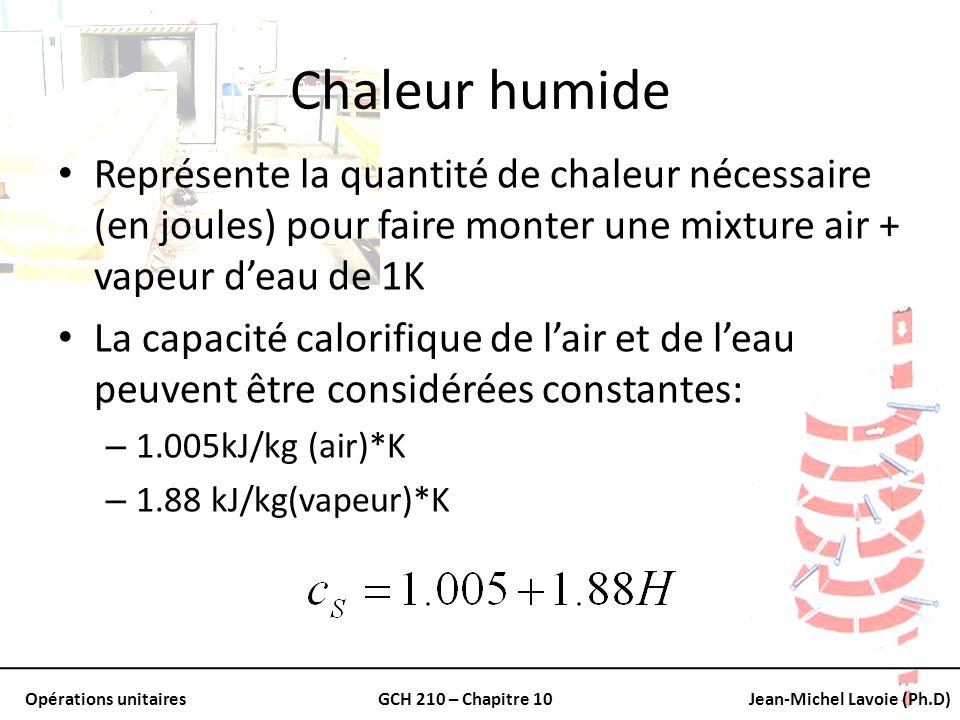 Opérations unitairesGCH 210 – Chapitre 10Jean-Michel Lavoie (Ph.D) Chaleur humide Représente la quantité de chaleur nécessaire (en joules) pour faire