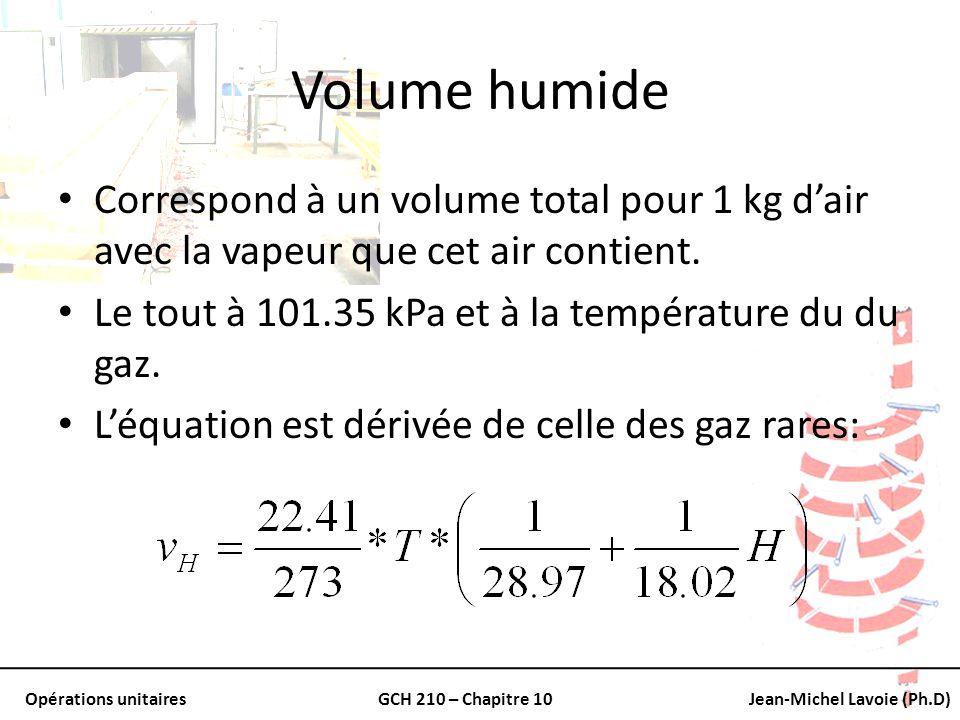 Opérations unitairesGCH 210 – Chapitre 10Jean-Michel Lavoie (Ph.D) Volume humide Correspond à un volume total pour 1 kg dair avec la vapeur que cet ai