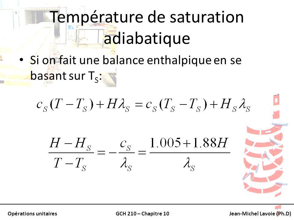 Opérations unitairesGCH 210 – Chapitre 10Jean-Michel Lavoie (Ph.D) Température de saturation adiabatique Si on fait une balance enthalpique en se basa