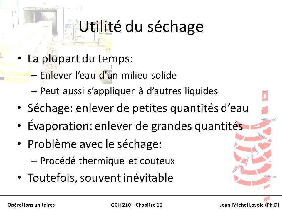 Opérations unitairesGCH 210 – Chapitre 10Jean-Michel Lavoie (Ph.D) Problème typique Température Humide: Un mélange de vapeur deau et dair ayant une température sèche (T) de 60 o C est évaluée avec un psychromètre et la température humide obtenue est de 29.5 o C.