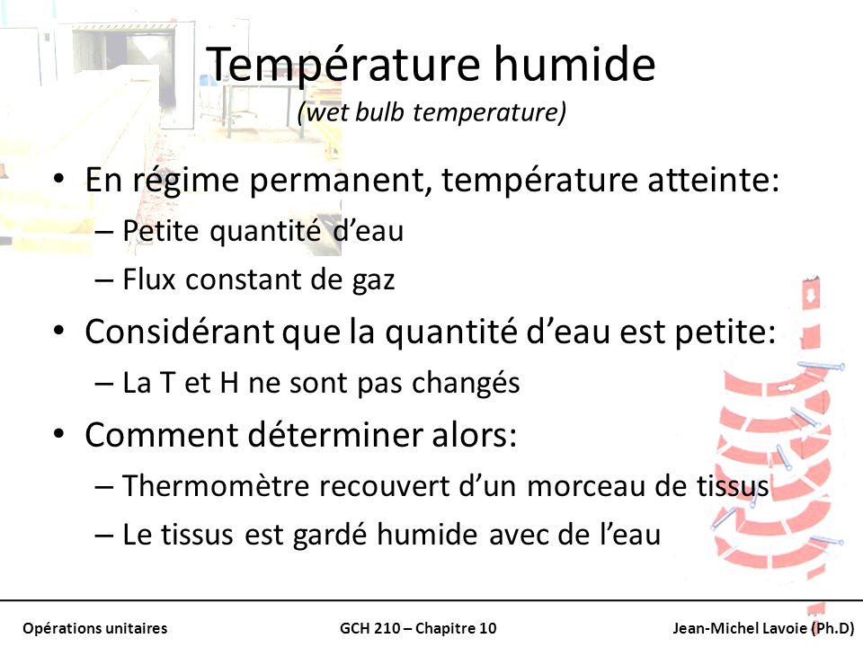 Opérations unitairesGCH 210 – Chapitre 10Jean-Michel Lavoie (Ph.D) Température humide (wet bulb temperature) En régime permanent, température atteinte
