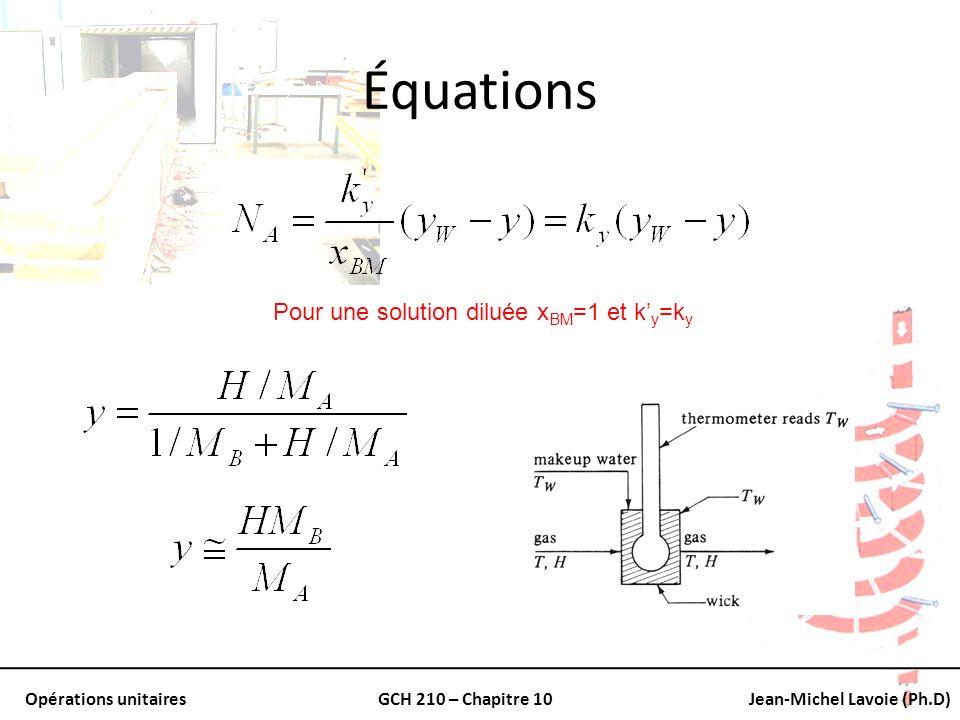 Opérations unitairesGCH 210 – Chapitre 10Jean-Michel Lavoie (Ph.D) Équations Pour une solution diluée x BM =1 et k y =k y