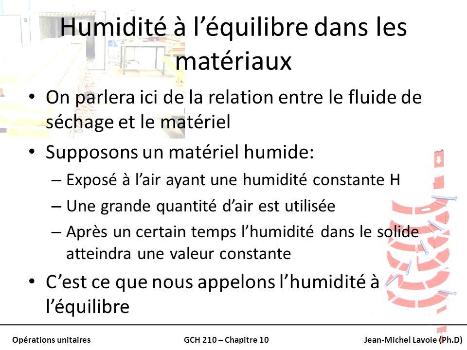 Opérations unitairesGCH 210 – Chapitre 10Jean-Michel Lavoie (Ph.D) Humidité à léquilibre dans les matériaux On parlera ici de la relation entre le flu