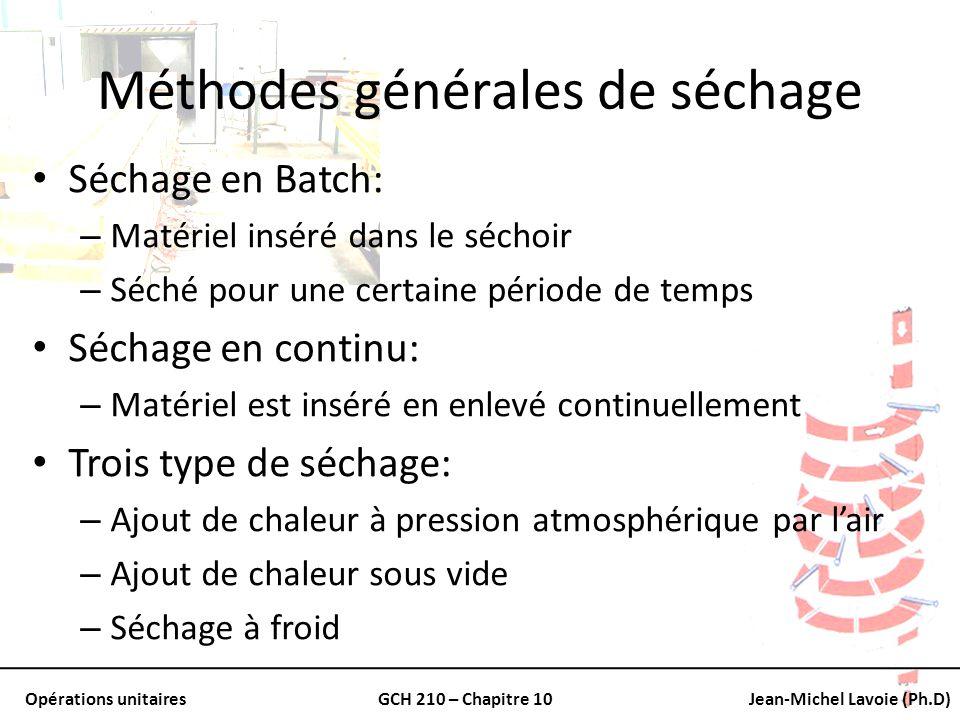 Opérations unitairesGCH 210 – Chapitre 10Jean-Michel Lavoie (Ph.D) Méthodes générales de séchage Séchage en Batch: – Matériel inséré dans le séchoir –