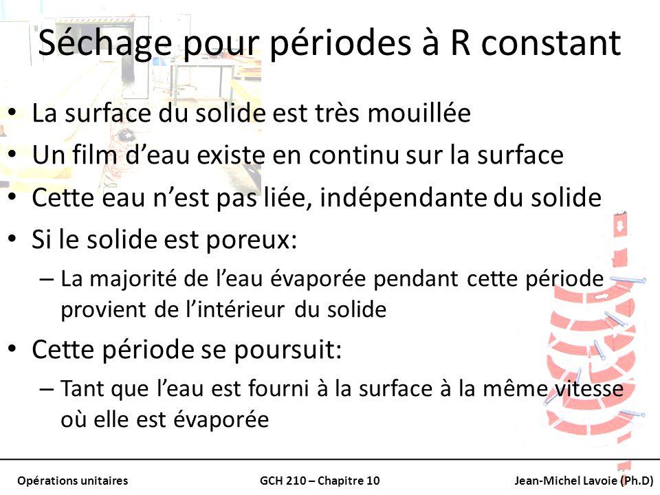Opérations unitairesGCH 210 – Chapitre 10Jean-Michel Lavoie (Ph.D) Séchage pour périodes à R constant La surface du solide est très mouillée Un film d