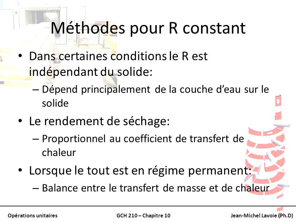 Opérations unitairesGCH 210 – Chapitre 10Jean-Michel Lavoie (Ph.D) Méthodes pour R constant Dans certaines conditions le R est indépendant du solide: