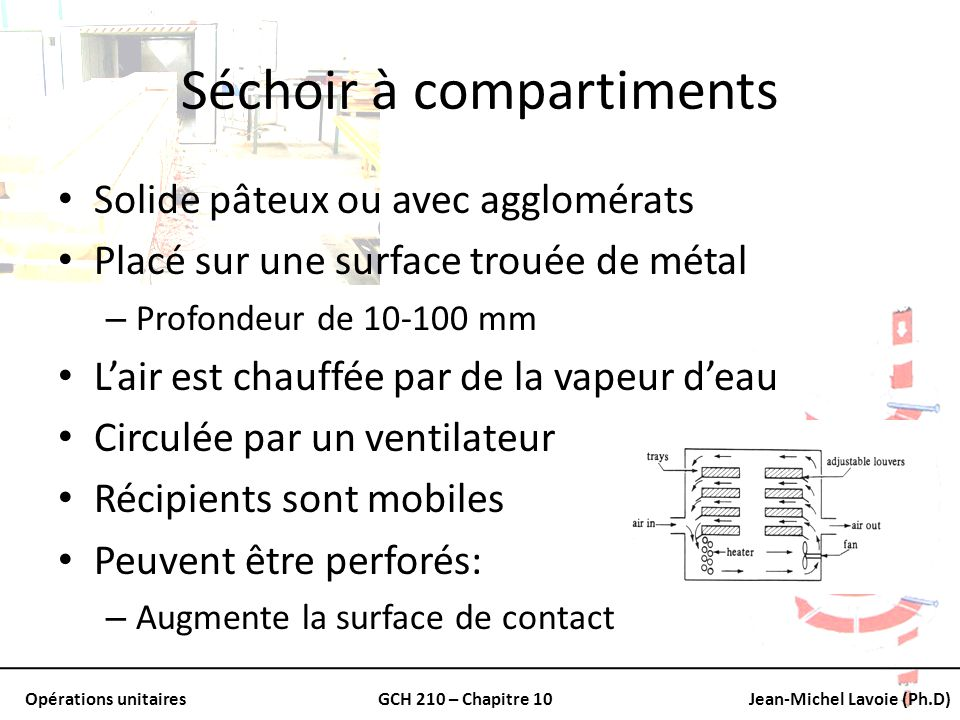 Opérations unitairesGCH 210 – Chapitre 10Jean-Michel Lavoie (Ph.D) Séchoir à compartiments Solide pâteux ou avec agglomérats Placé sur une surface tro