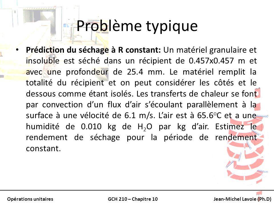 Opérations unitairesGCH 210 – Chapitre 10Jean-Michel Lavoie (Ph.D) Problème typique Prédiction du séchage à R constant: Un matériel granulaire et inso