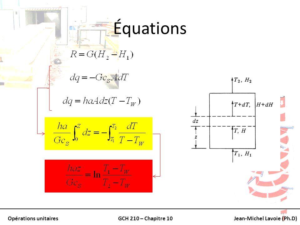 Opérations unitairesGCH 210 – Chapitre 10Jean-Michel Lavoie (Ph.D) Équations