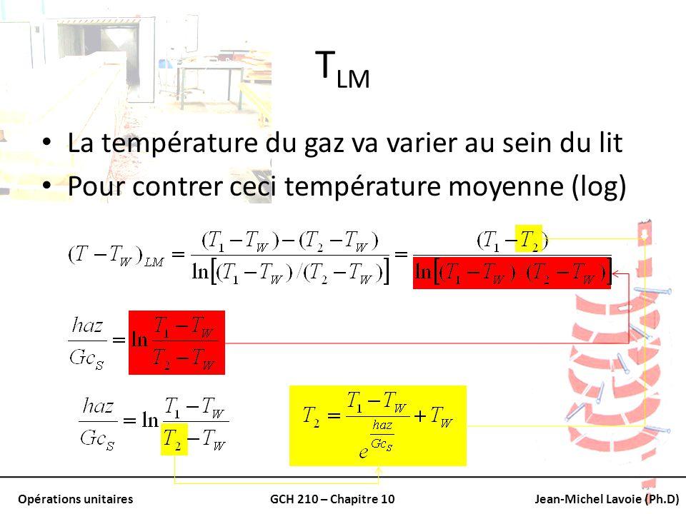 Opérations unitairesGCH 210 – Chapitre 10Jean-Michel Lavoie (Ph.D) T LM La température du gaz va varier au sein du lit Pour contrer ceci température m