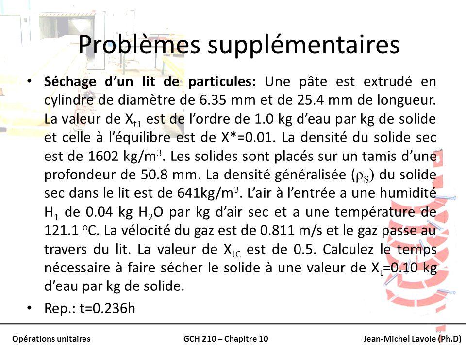 Opérations unitairesGCH 210 – Chapitre 10Jean-Michel Lavoie (Ph.D) Problèmes supplémentaires Séchage dun lit de particules: Une pâte est extrudé en cy