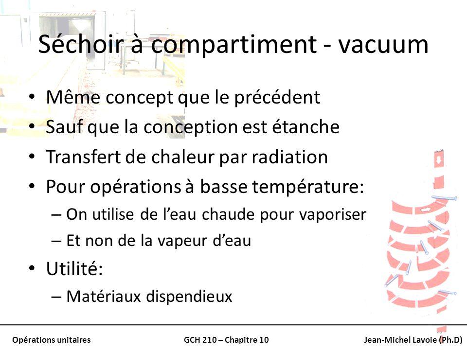 Opérations unitairesGCH 210 – Chapitre 10Jean-Michel Lavoie (Ph.D) Calculs pour séchoir constant Un des points les plus important: – Le temps de séchage Comment le trouver: – Tests batch – Prédiction des coefficients de transfert de masse et de chaleur