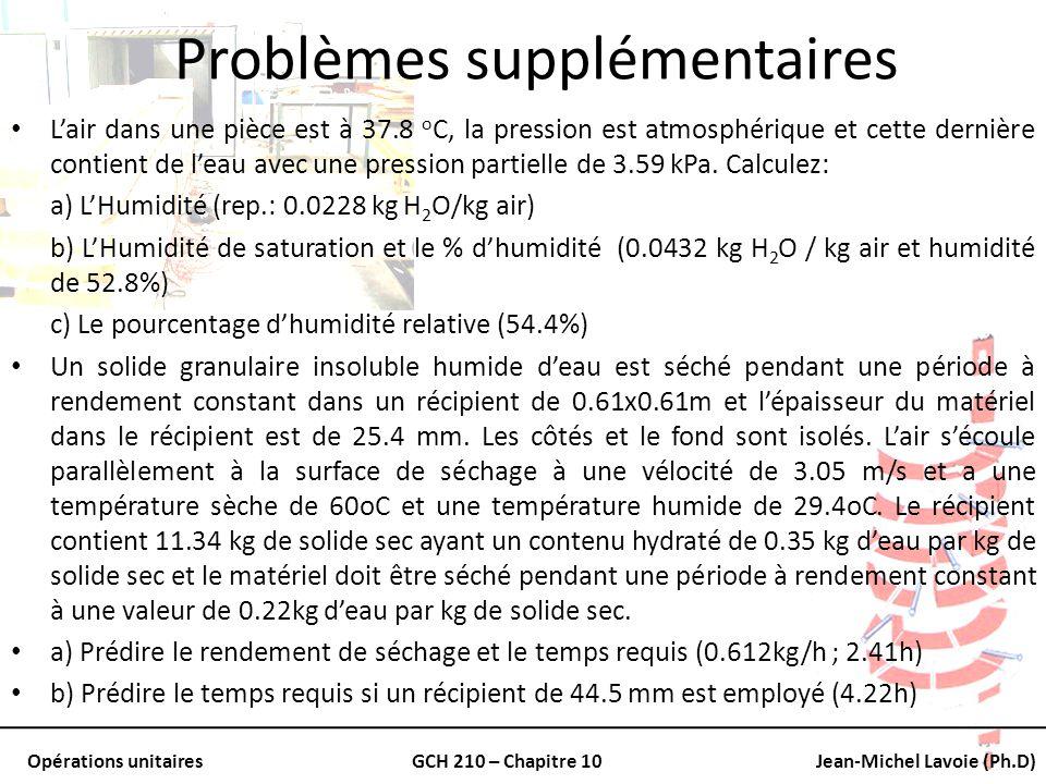 Opérations unitairesGCH 210 – Chapitre 10Jean-Michel Lavoie (Ph.D) Problèmes supplémentaires Lair dans une pièce est à 37.8 o C, la pression est atmos