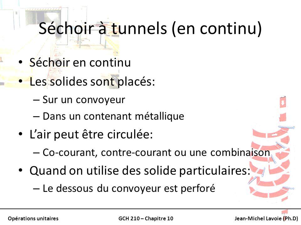 Opérations unitairesGCH 210 – Chapitre 10Jean-Michel Lavoie (Ph.D) Séchoir à tunnels (en continu) Séchoir en continu Les solides sont placés: – Sur un