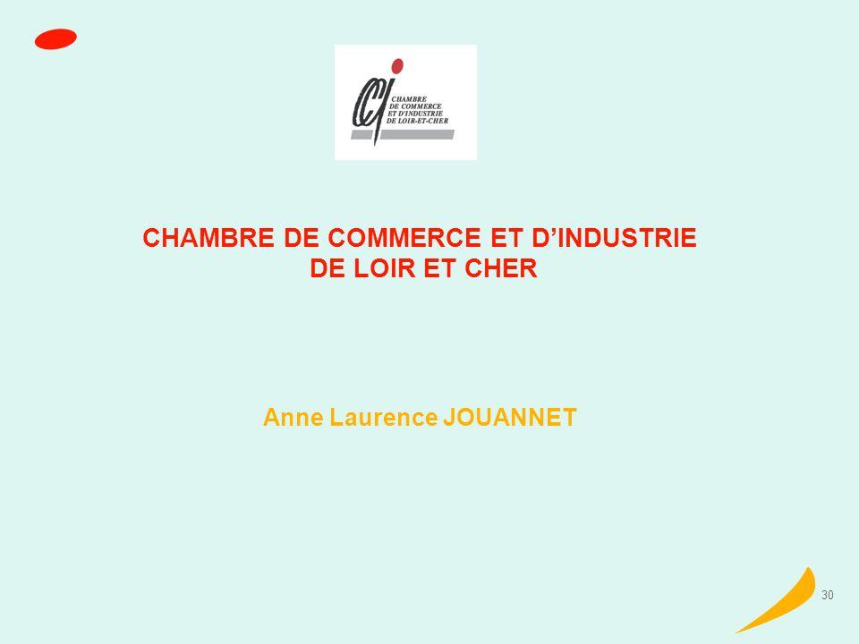 30 CHAMBRE DE COMMERCE ET DINDUSTRIE DE LOIR ET CHER Anne Laurence JOUANNET