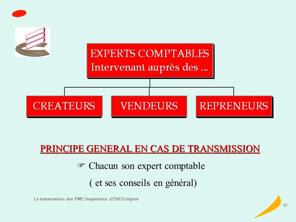 La transmission des PME l expérience d OSEO bdpme 40 PRINCIPE GENERAL EN CAS DE TRANSMISSION Chacun son expert comptable ( et ses conseils en général)