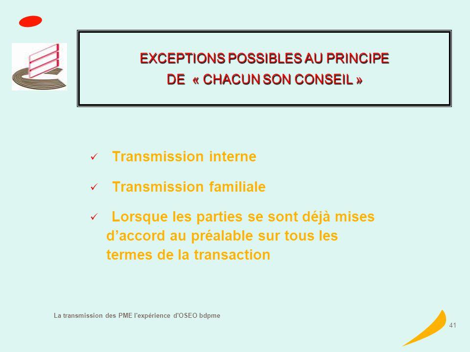 La transmission des PME l expérience d OSEO bdpme 41 Transmission interne Transmission familiale Lorsque les parties se sont déjà mises daccord au préalable sur tous les termes de la transaction EXCEPTIONS POSSIBLES AU PRINCIPE DE « CHACUN SON CONSEIL »