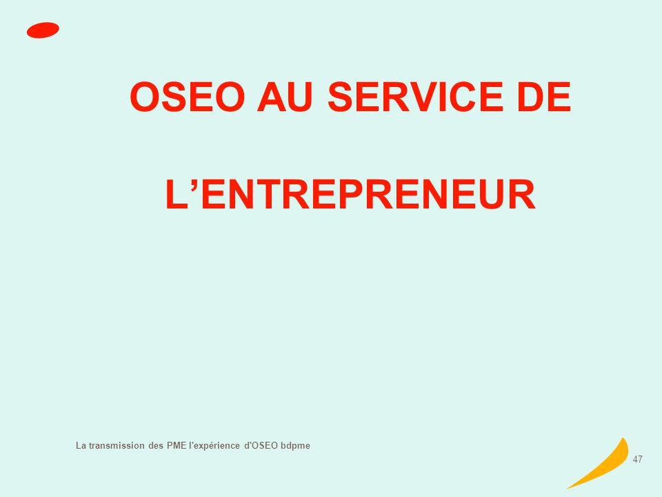 La transmission des PME l expérience d OSEO bdpme 47 OSEO AU SERVICE DE LENTREPRENEUR