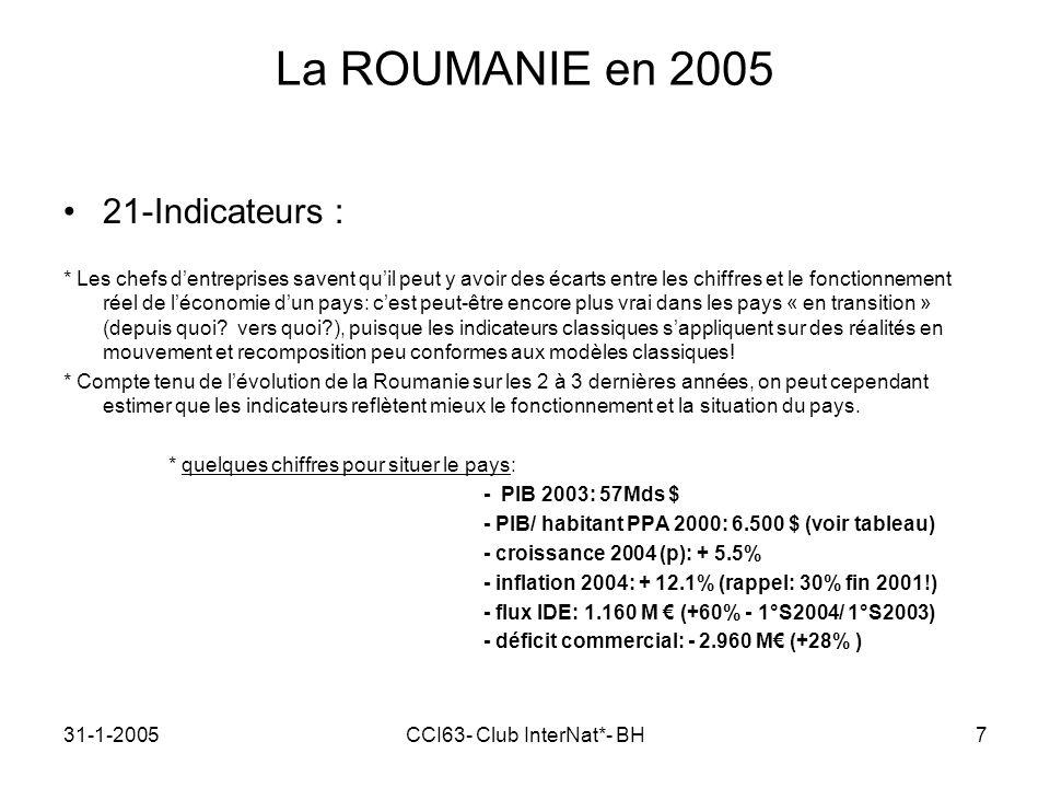 31-1-2005CCI63- Club InterNat*- BH7 La ROUMANIE en 2005 21-Indicateurs : * Les chefs dentreprises savent quil peut y avoir des écarts entre les chiffres et le fonctionnement réel de léconomie dun pays: cest peut-être encore plus vrai dans les pays « en transition » (depuis quoi.