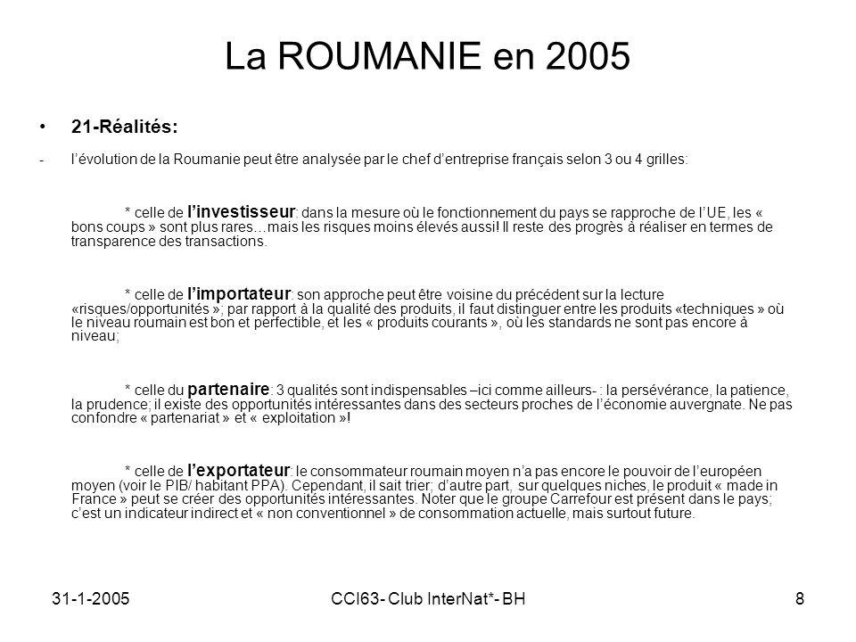 31-1-2005CCI63- Club InterNat*- BH8 La ROUMANIE en 2005 21-Réalités: -lévolution de la Roumanie peut être analysée par le chef dentreprise français selon 3 ou 4 grilles: * celle de linvestisseur : dans la mesure où le fonctionnement du pays se rapproche de lUE, les « bons coups » sont plus rares…mais les risques moins élevés aussi.
