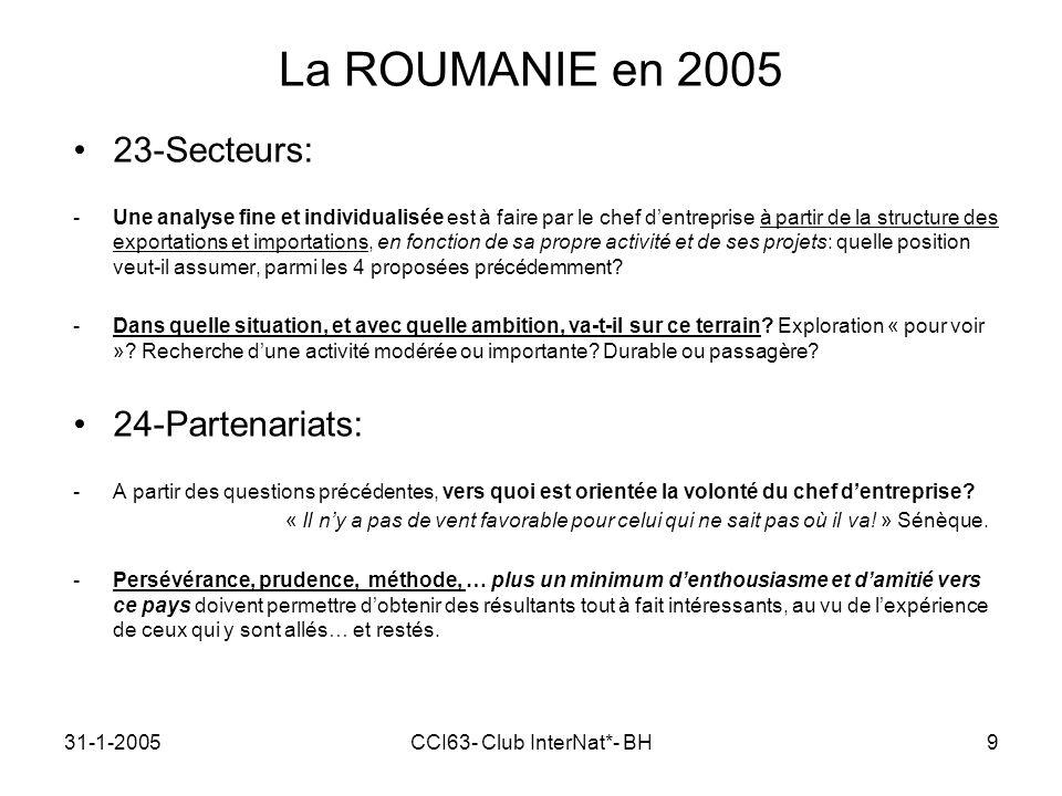 31-1-2005CCI63- Club InterNat*- BH9 La ROUMANIE en 2005 23-Secteurs: -Une analyse fine et individualisée est à faire par le chef dentreprise à partir de la structure des exportations et importations, en fonction de sa propre activité et de ses projets: quelle position veut-il assumer, parmi les 4 proposées précédemment.