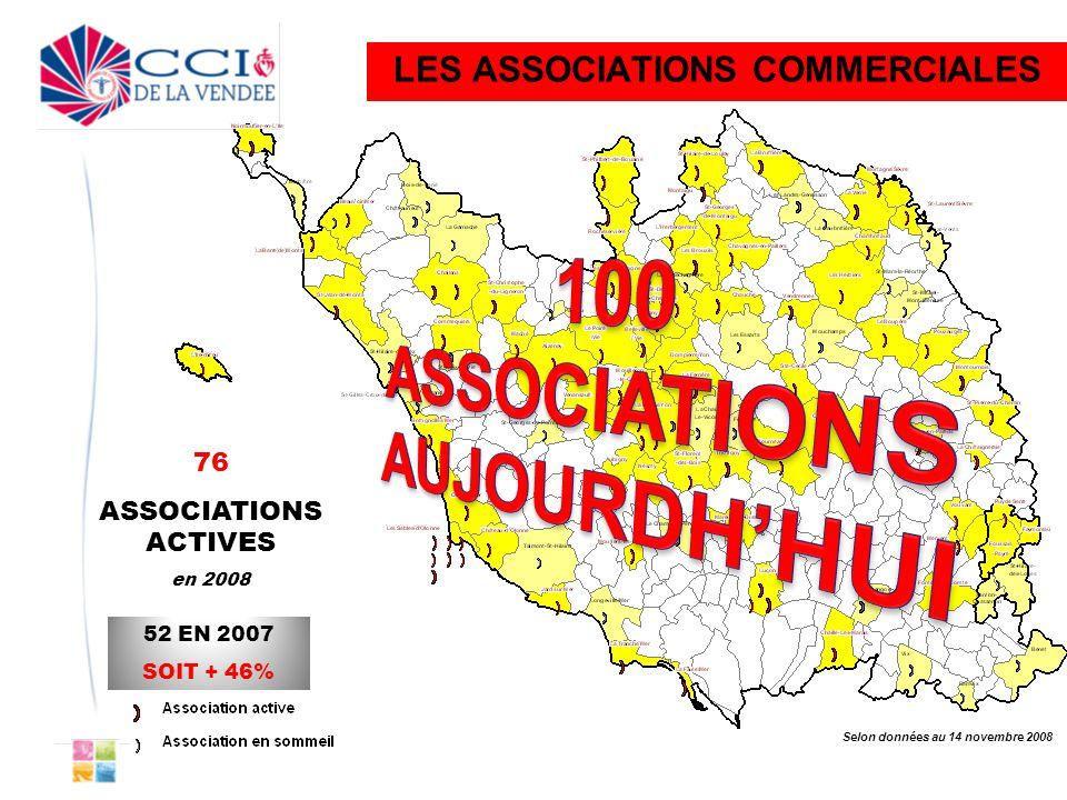 76 ASSOCIATIONS ACTIVES en 2008 52 EN 2007 SOIT + 46% Selon données au 14 novembre 2008