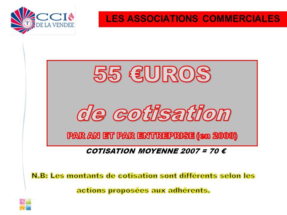 LES ASSOCIATIONS COMMERCIALES COTISATION MOYENNE 2007 = 70