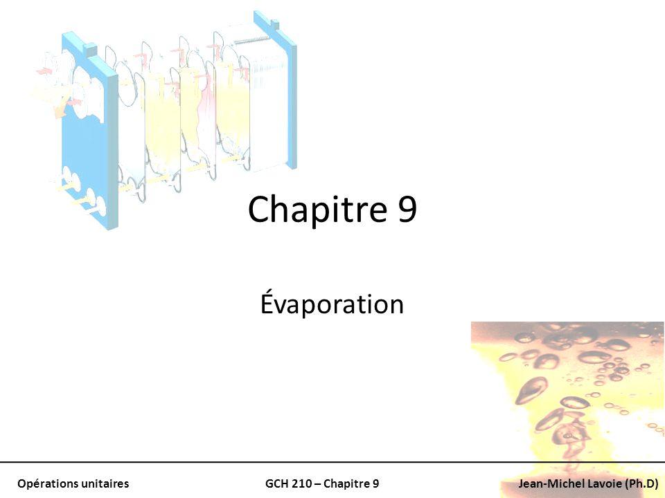Opérations unitairesGCH 210 – Chapitre 9Jean-Michel Lavoie (Ph.D) Chapitre 9 Évaporation