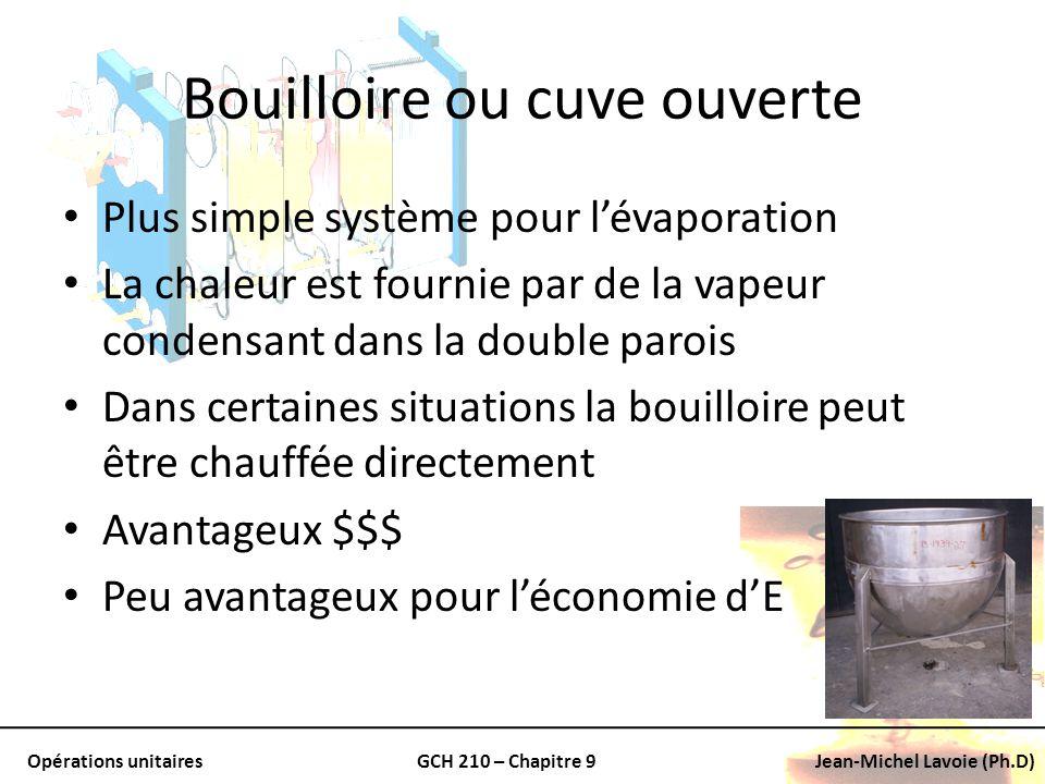 Opérations unitairesGCH 210 – Chapitre 9Jean-Michel Lavoie (Ph.D) Bouilloire ou cuve ouverte Plus simple système pour lévaporation La chaleur est four