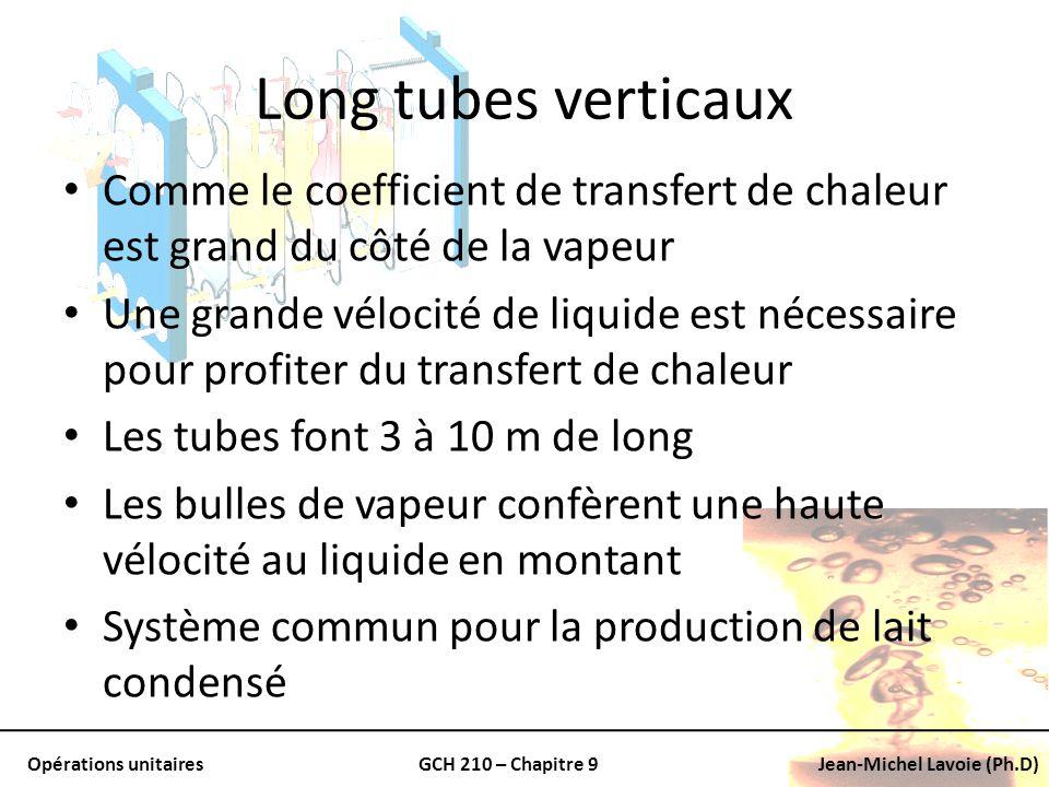 Opérations unitairesGCH 210 – Chapitre 9Jean-Michel Lavoie (Ph.D) Long tubes verticaux Comme le coefficient de transfert de chaleur est grand du côté