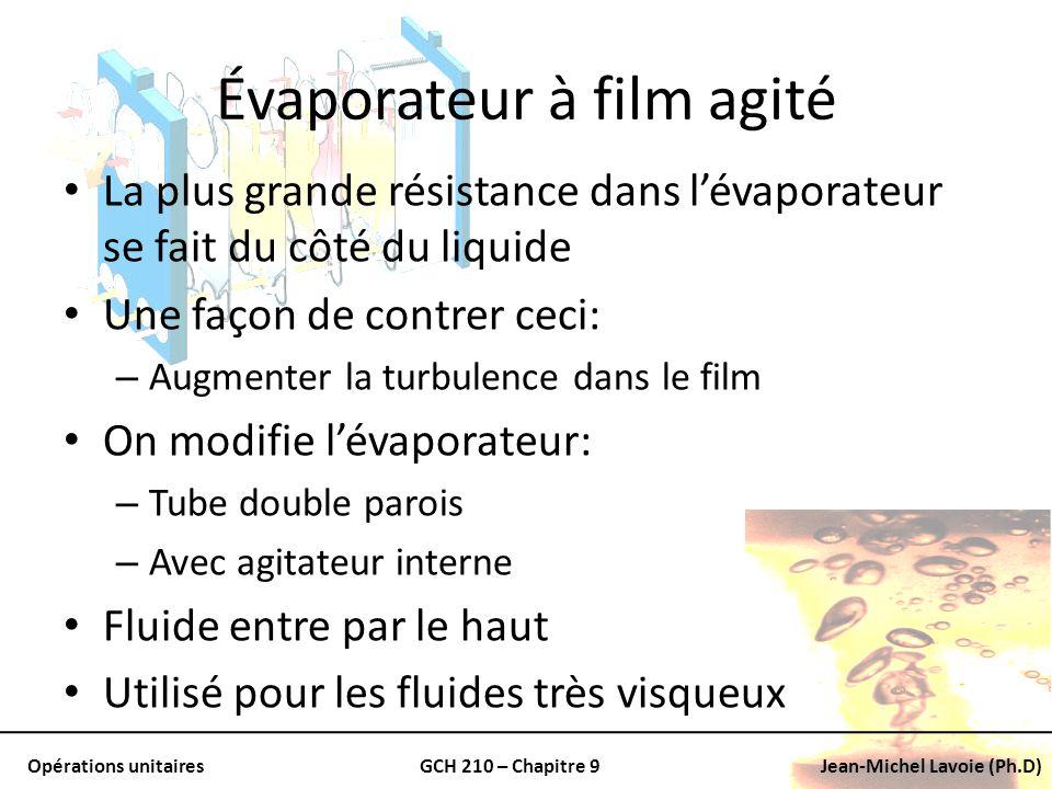 Opérations unitairesGCH 210 – Chapitre 9Jean-Michel Lavoie (Ph.D) Évaporateur à film agité La plus grande résistance dans lévaporateur se fait du côté