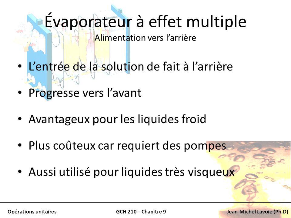 Opérations unitairesGCH 210 – Chapitre 9Jean-Michel Lavoie (Ph.D) Évaporateur à effet multiple Alimentation vers larrière Lentrée de la solution de fa